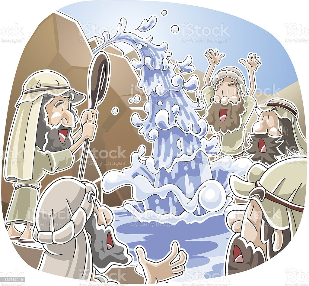 Water from the rock at Horeb vector art illustration