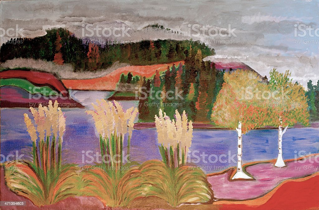 Water, Grasses and Hills, Original Painting, Acrylic on Canvas royalty-free stock vector art