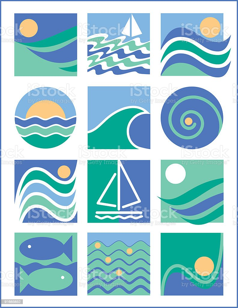 Water Icons Collection 1 royalty-free stock vector art