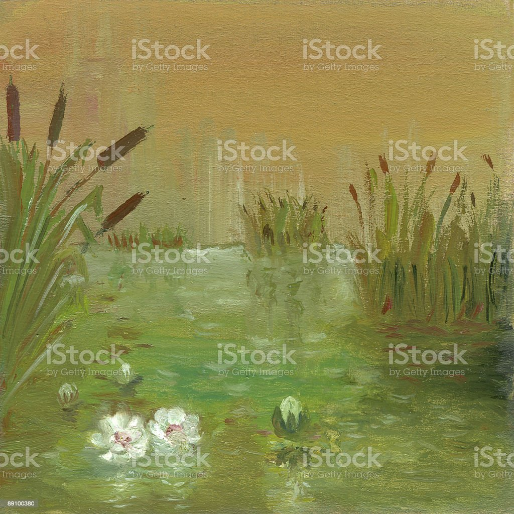 Water lilies on the pond vector art illustration