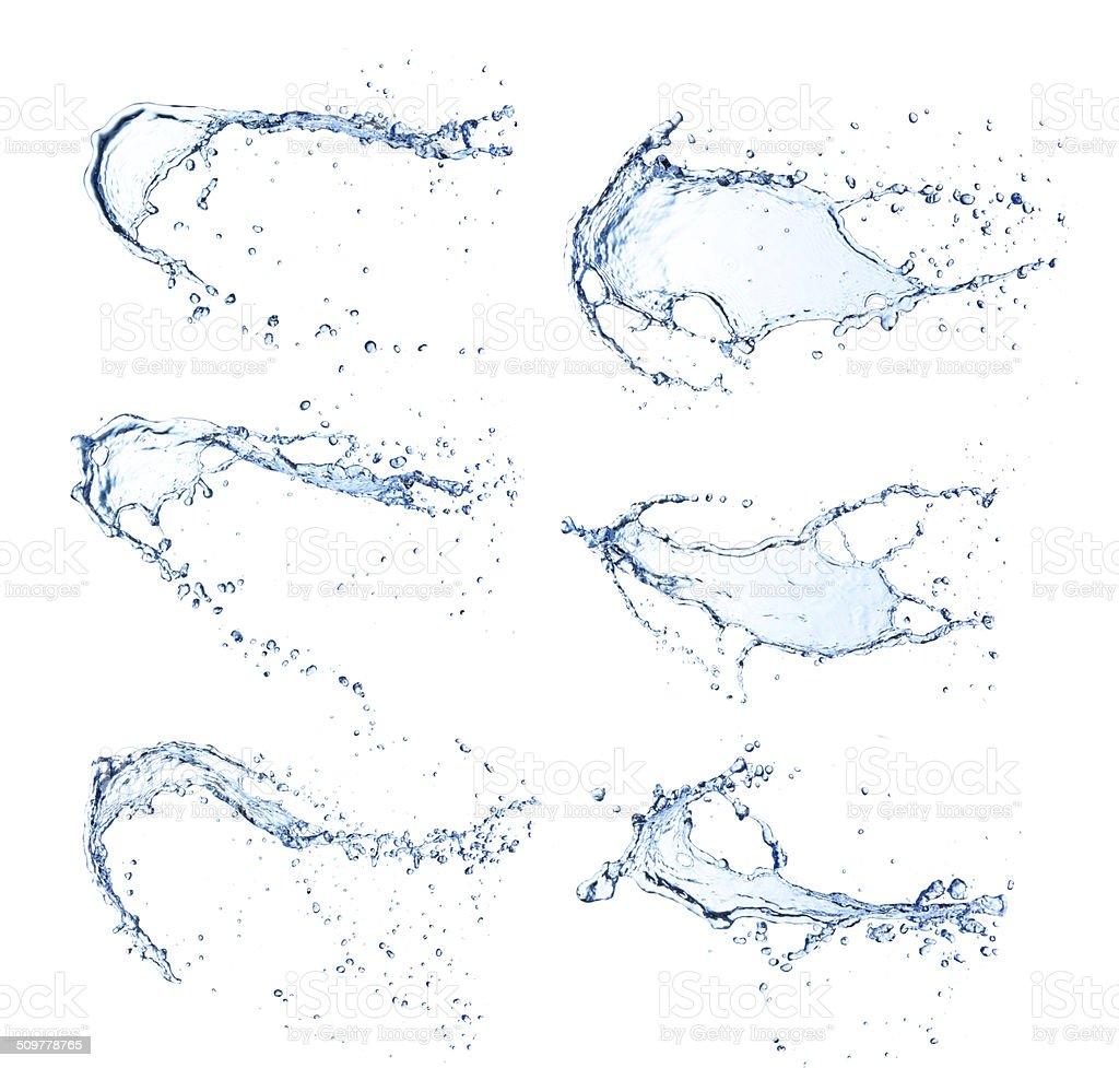 Water splashes on white background vector art illustration