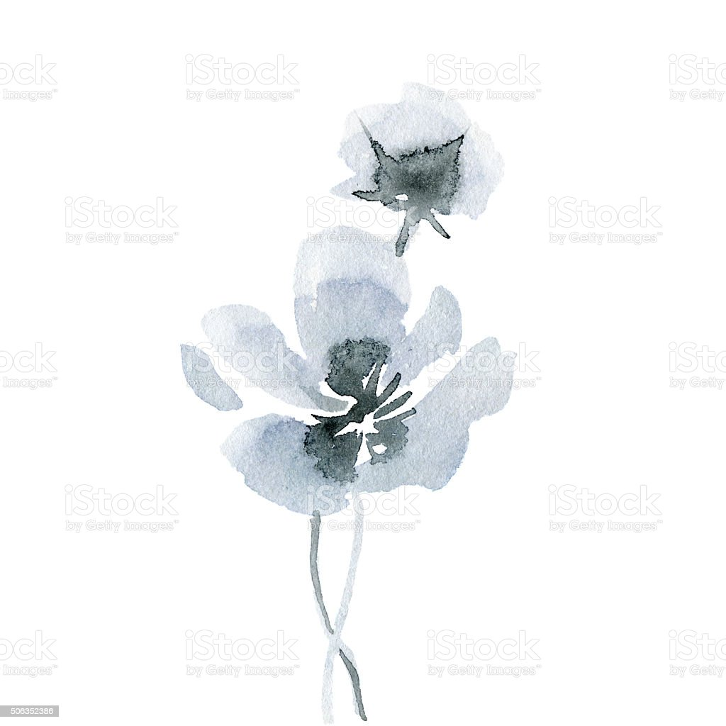 Watercolor abstract flower. vector art illustration
