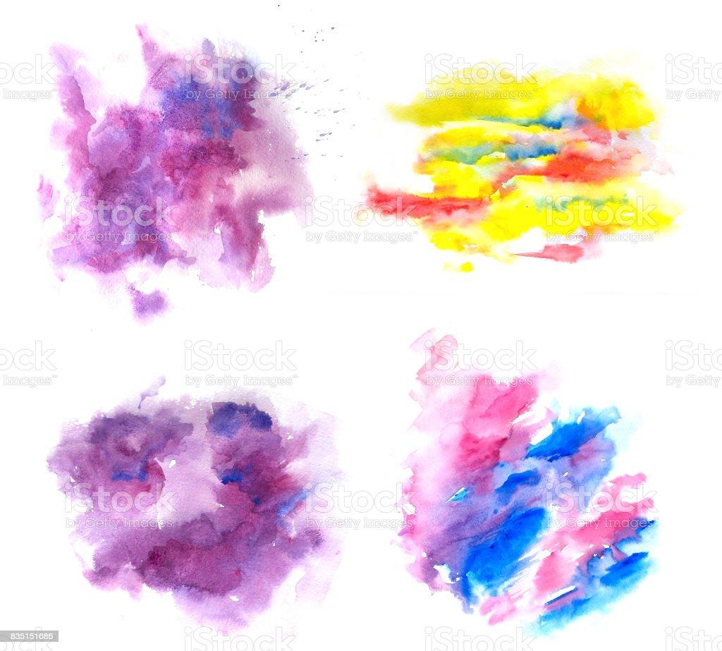 watercolor abstract textured blots vector art illustration