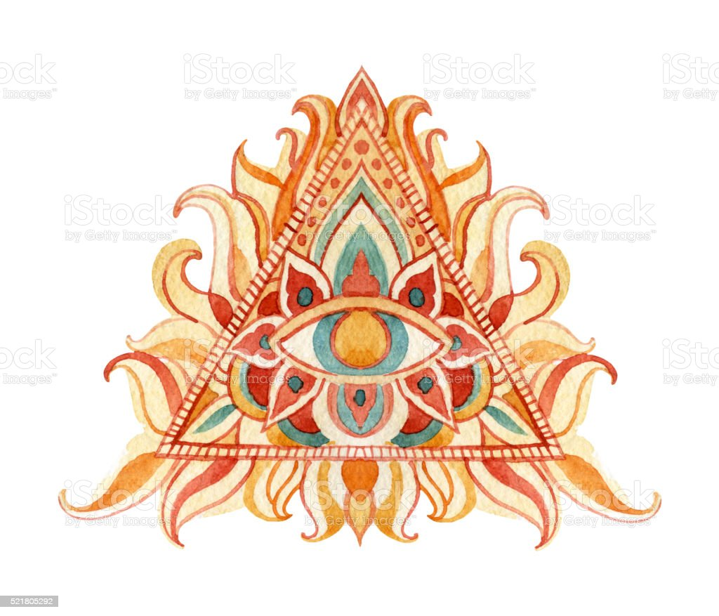 Watercolor all seeing eye symbol in pyramid. vector art illustration