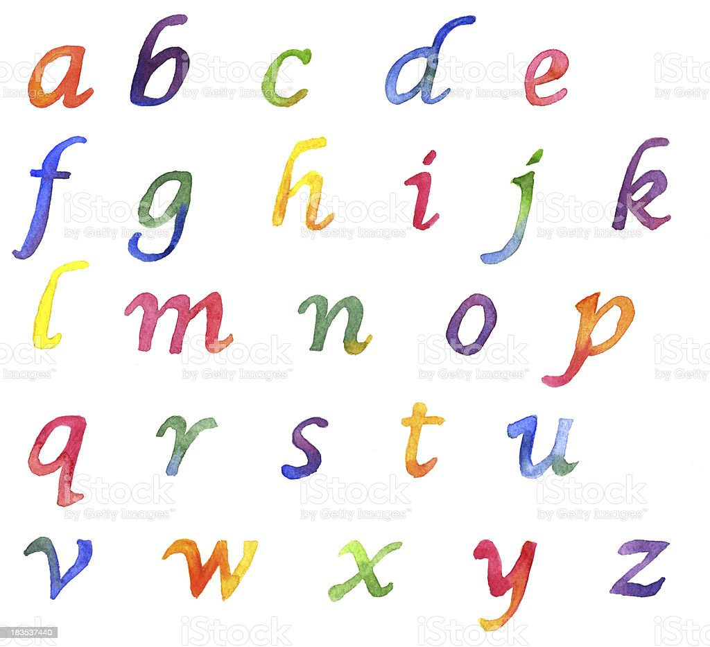 Watercolor Alphabet--lower case royalty-free stock vector art