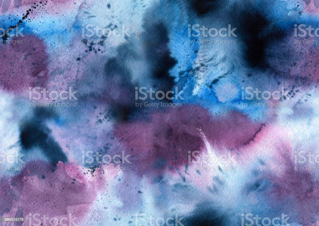Watercolor and ink seamless pattern vector art illustration