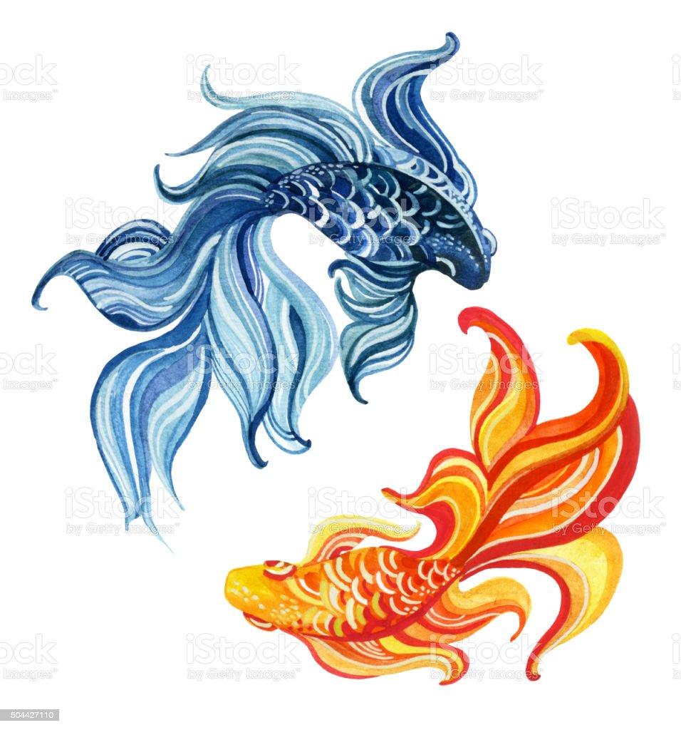 Watercolor asian goldfishes vector art illustration