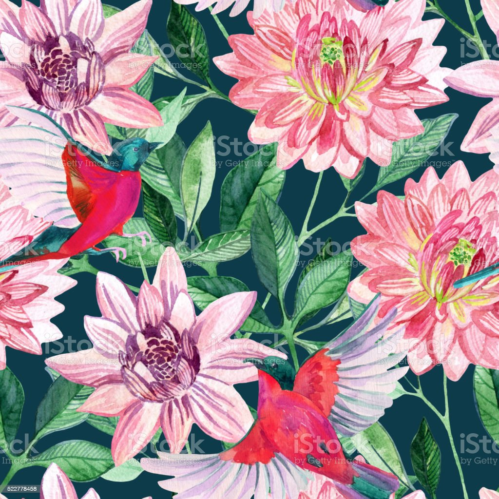 Watercolor asters and birds seamless pattern vector art illustration