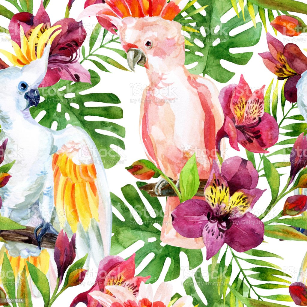 watercolor Australian Cockatoo seamless pattern vector art illustration