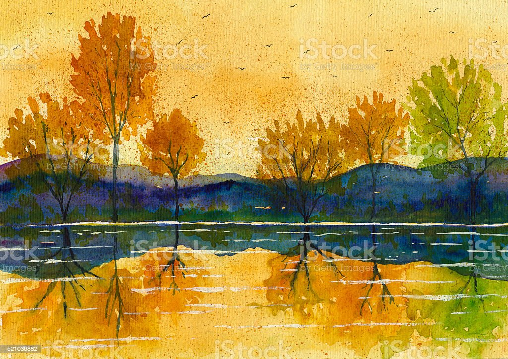 watercolor autumn  landscape painting stock photo