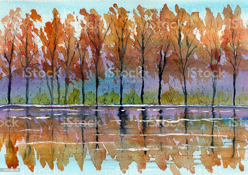 watercolor autumn landscape painting vector art illustration