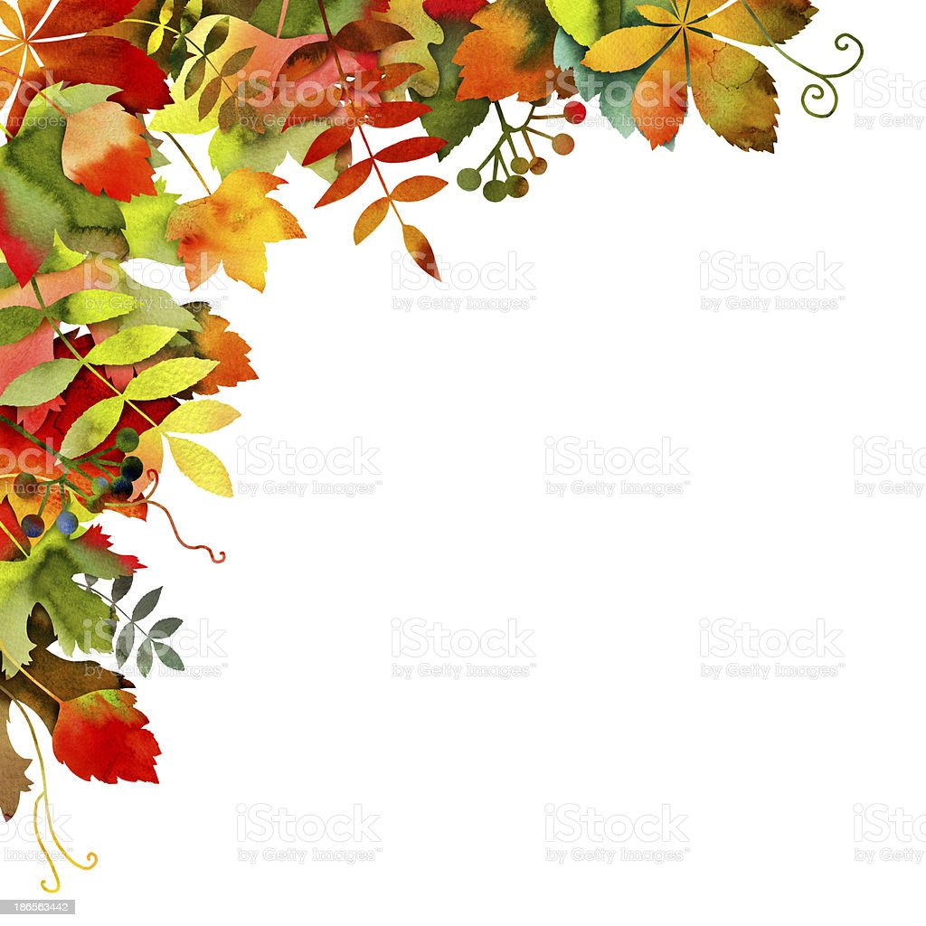 Watercolor Autumn Leaves Background royalty-free stock vector art