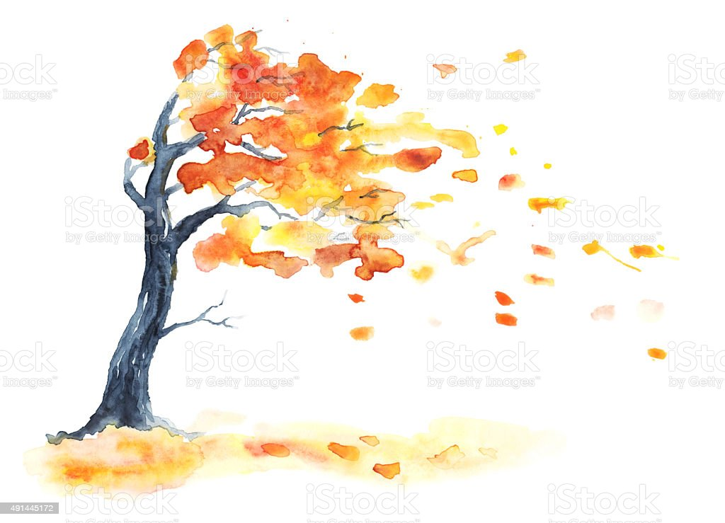 Watercolor autumn tree with yellow and orange leaves. vector art illustration