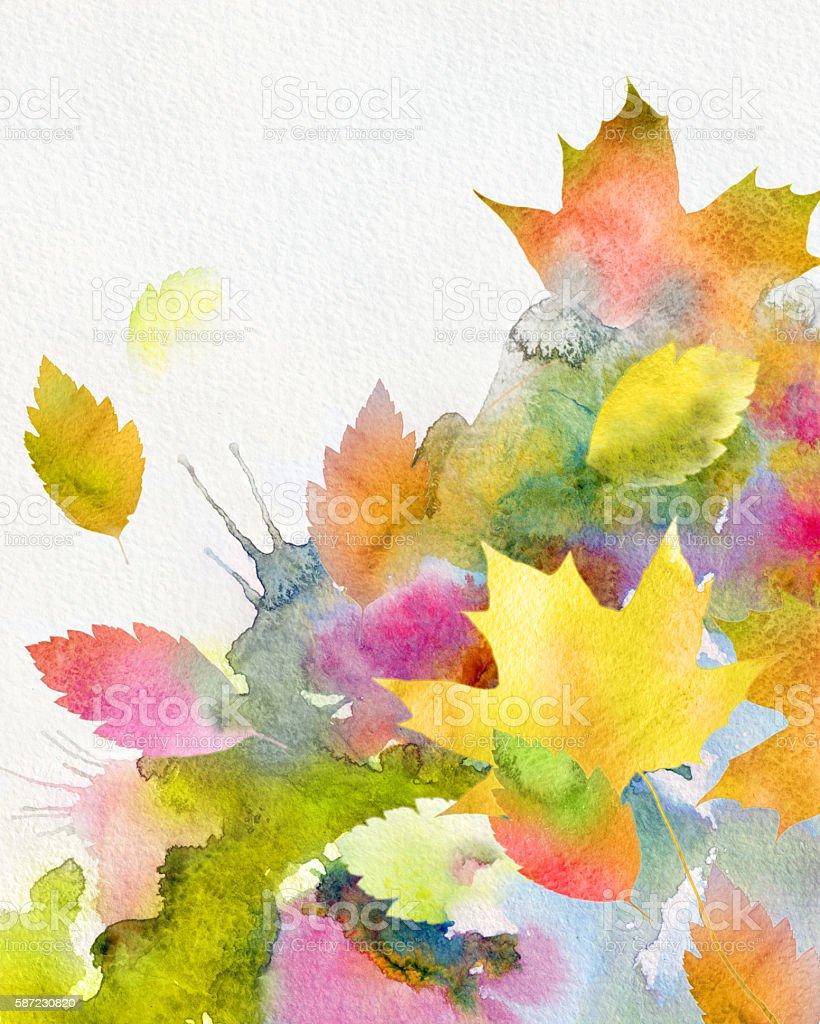 watercolor autumnal background vector art illustration