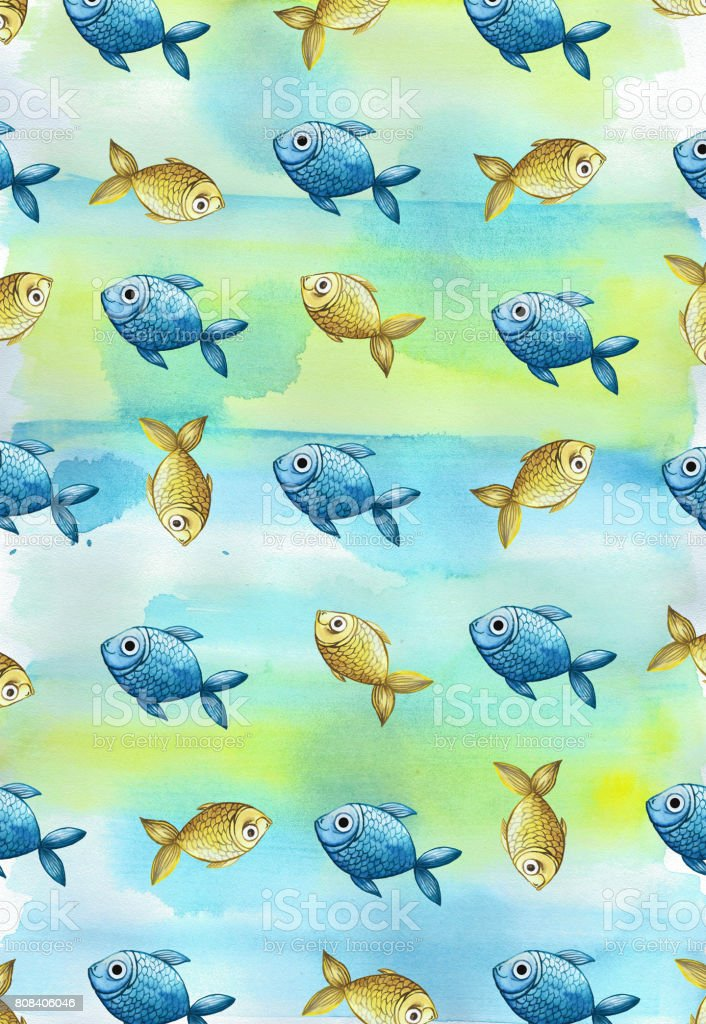 watercolor background and blue fishes and yellow vector art illustration