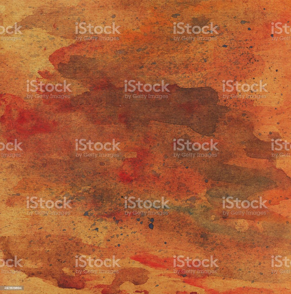 Watercolor background orange yellow red . Abstract painting vector art illustration