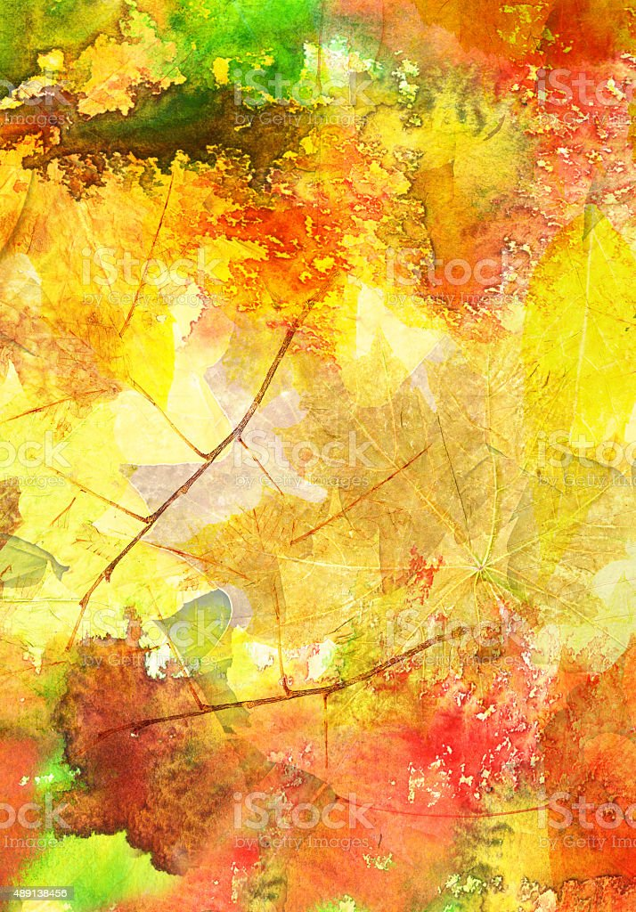 Watercolor background with autumn leaves vector art illustration