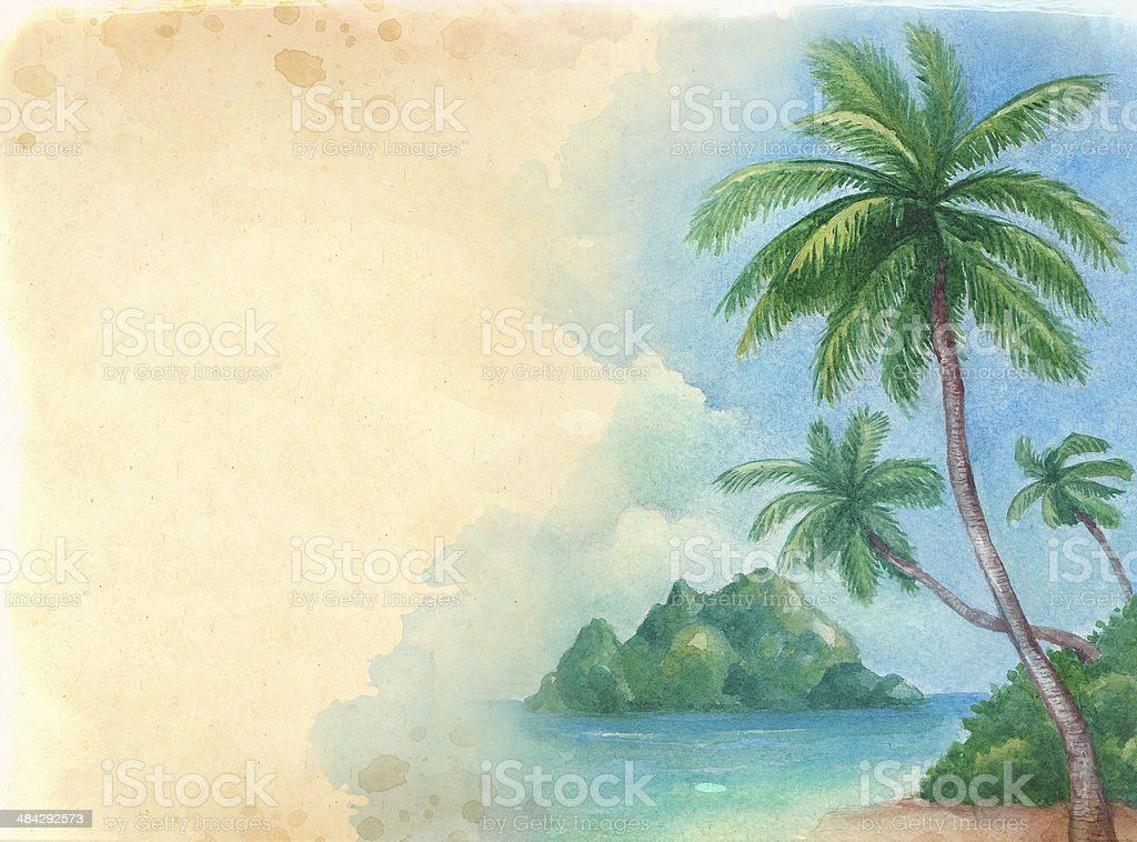 Watercolor background with illustration of the tropical beach vector art illustration