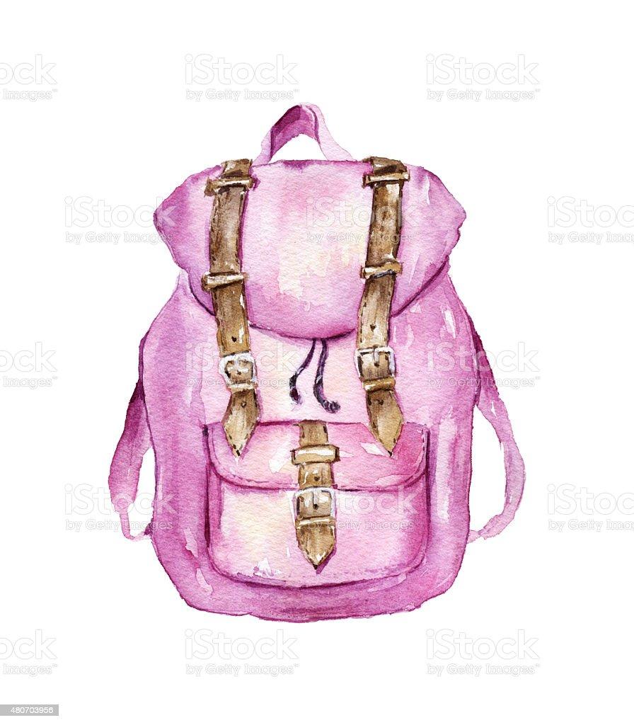 Watercolor backpack vector art illustration