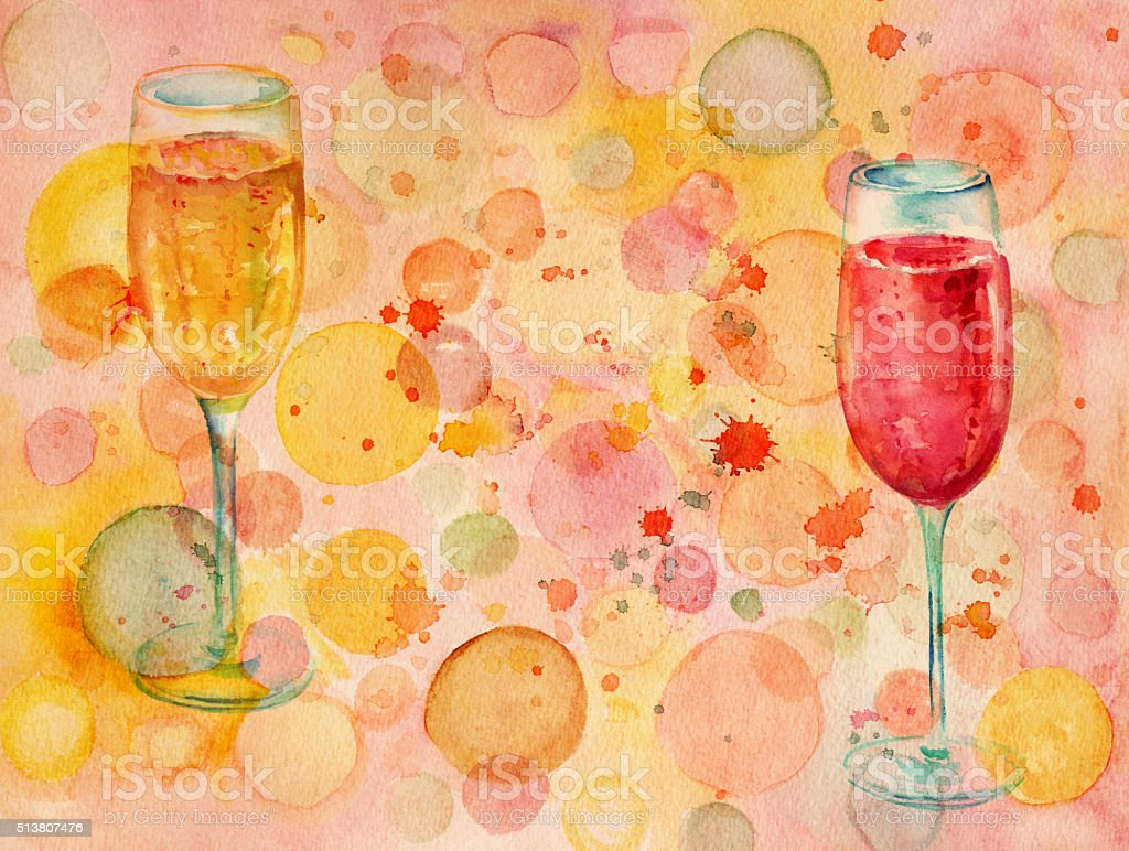 Watercolor banner with bubbles and two glasses of champagne vector art illustration