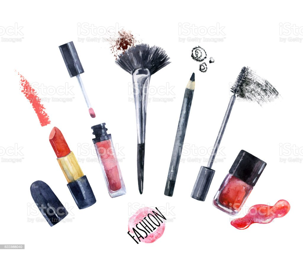 Watercolor beauty collection for make up. Fashionable design vector art illustration