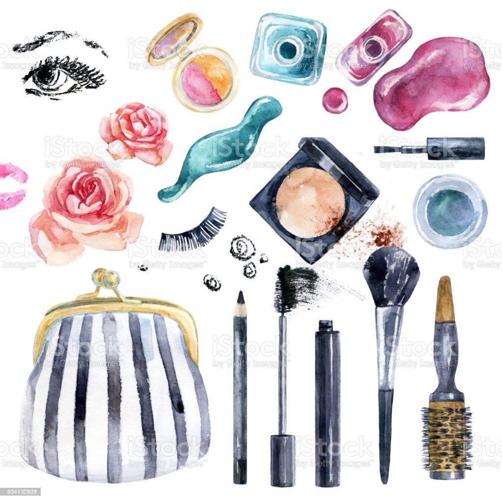 Watercolor beauty collection for makeup. Fashionable design vector art illustration