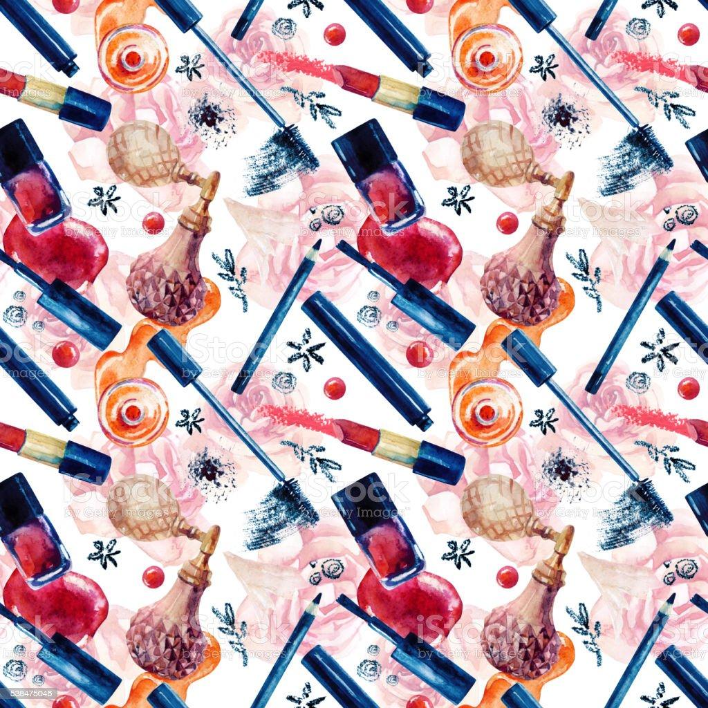 Watercolor beauty seamless pattern. Fashionable design vector art illustration