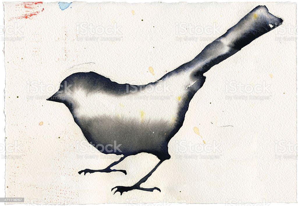 Watercolor Bird vector art illustration