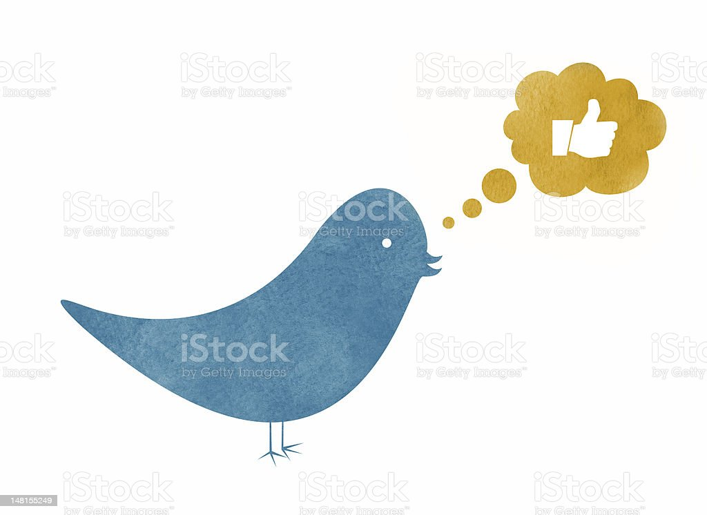 Watercolor Bird Thinking about Liking Something royalty-free stock vector art