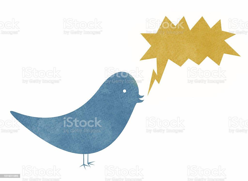 Watercolor Bird with Action Speech Bubble vector art illustration