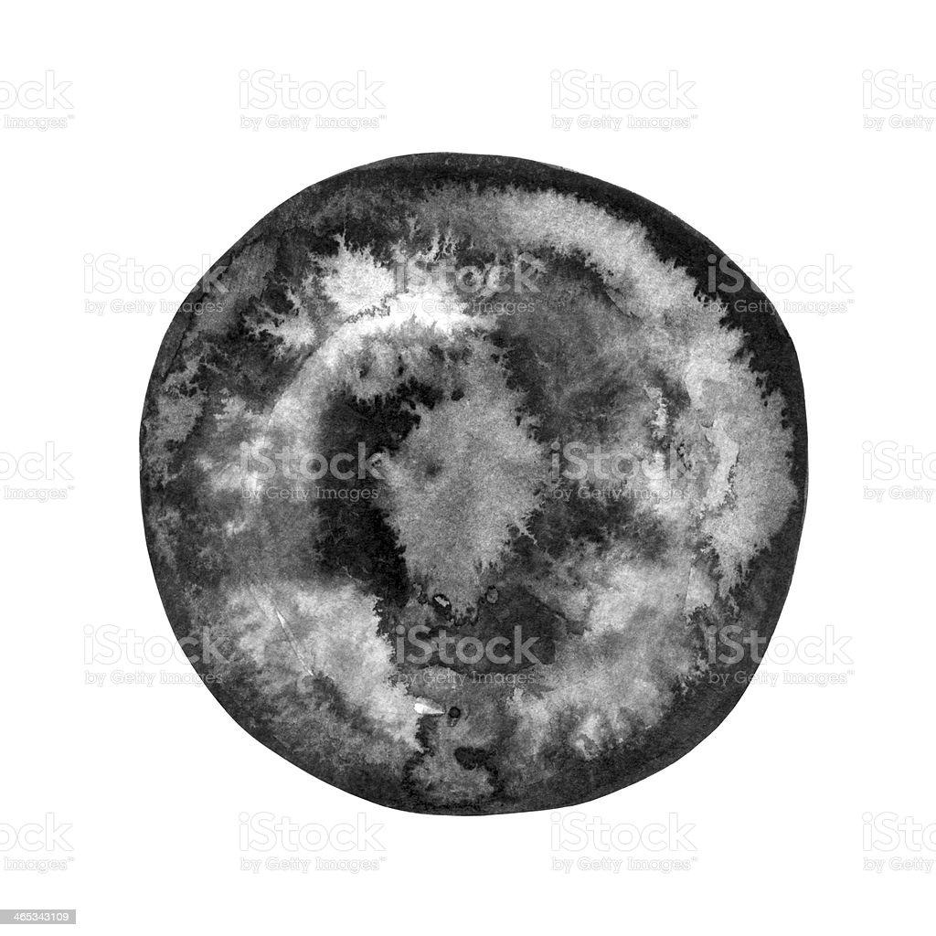 Watercolor black round spot royalty-free stock vector art