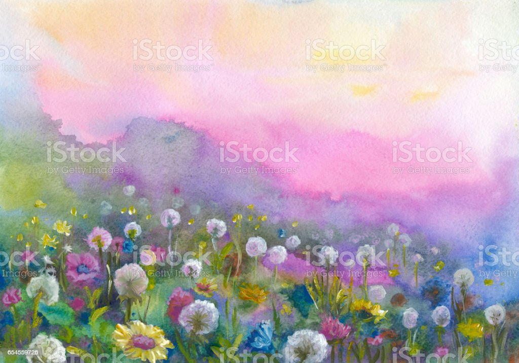Watercolor blooming valley vector art illustration