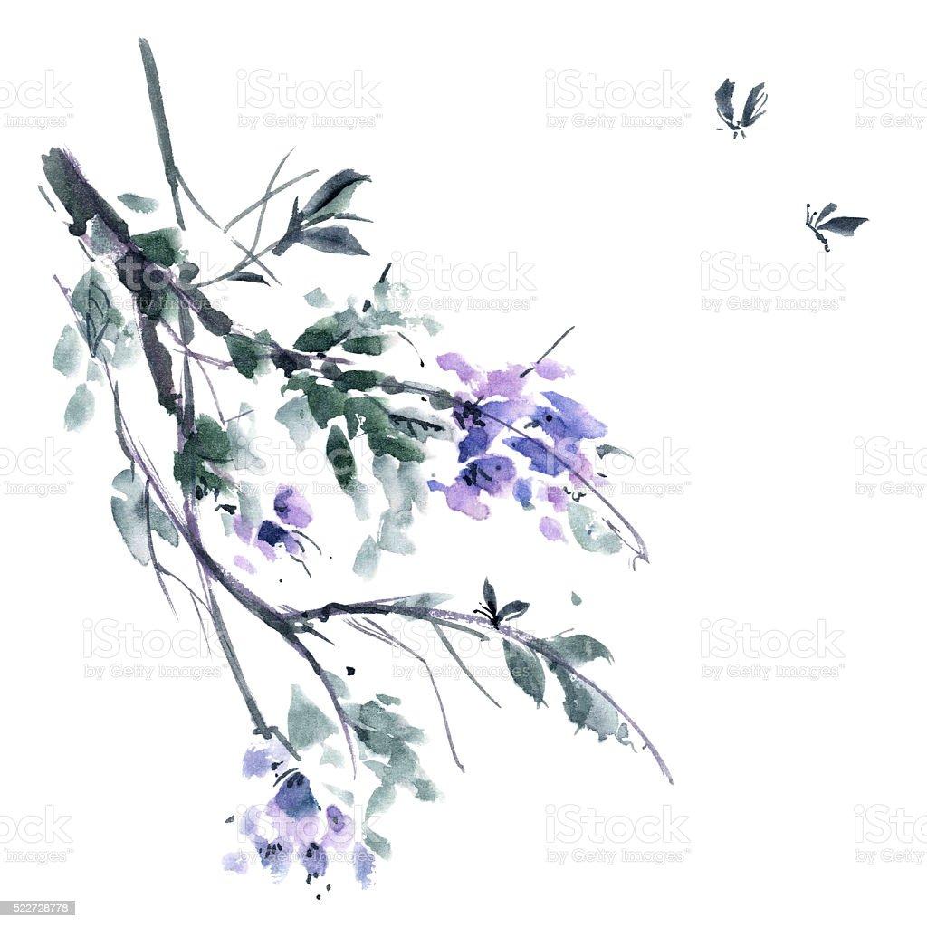Watercolor blossom tree vector art illustration