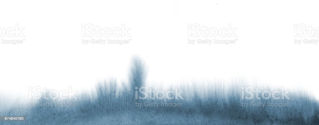 Watercolor blue tone fluid grass stains texture. Abstract hand painting background on white. vector art illustration