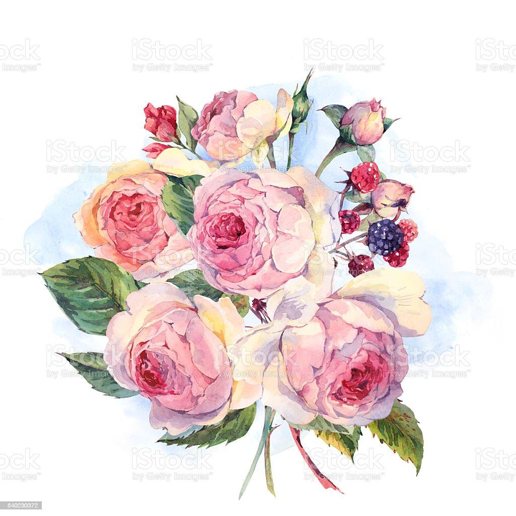 aguarela ramo de ingls rosesand flores silvestres download vetor e ilustrao royaltyfree