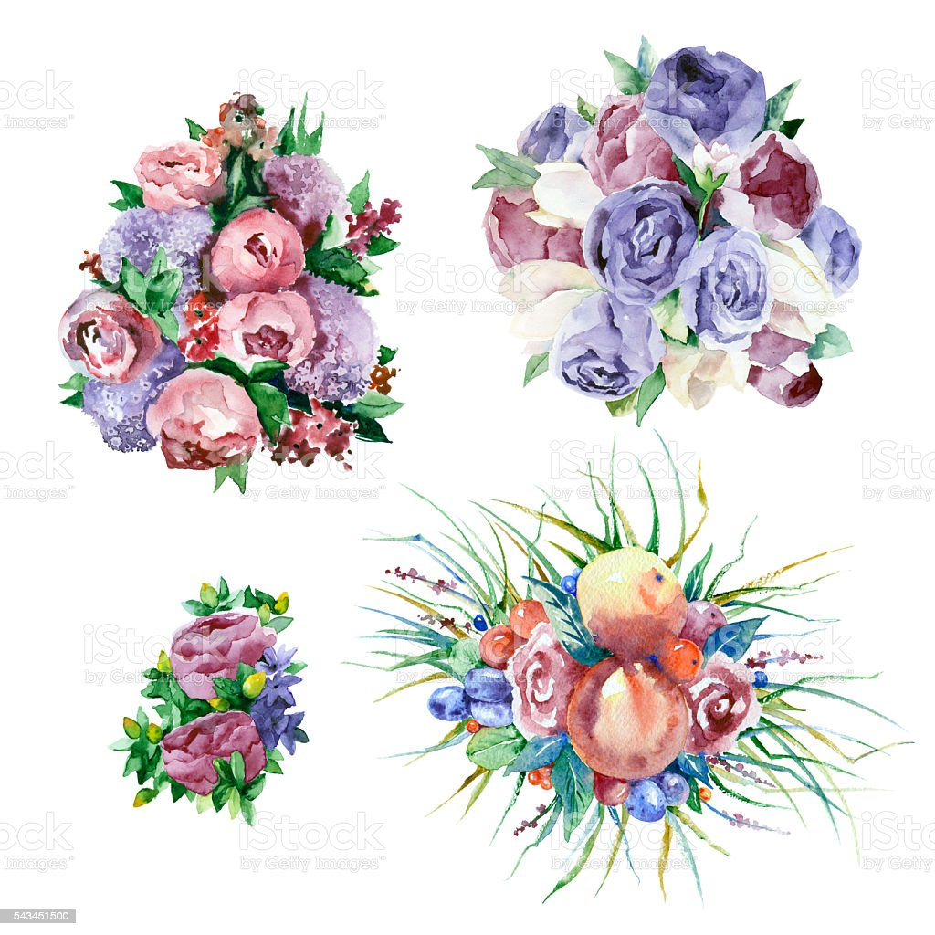 Watercolor bouquets of flowers. vector art illustration