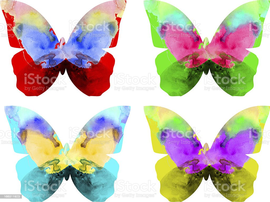 Watercolor butterfly isolated on white background royalty-free stock vector art