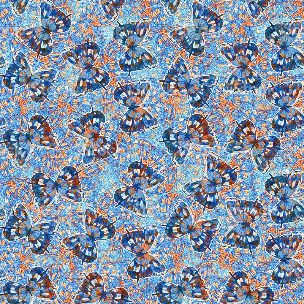 Watercolor butterfly seamless pattern vector art illustration