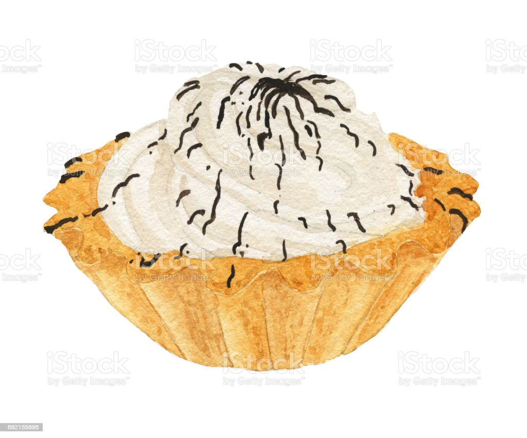 Watercolor cake basket with cream vector art illustration