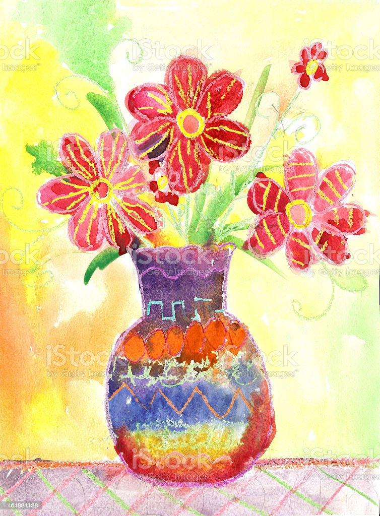 Fiori acquerello disegno per bambini illustrazione royalty-free