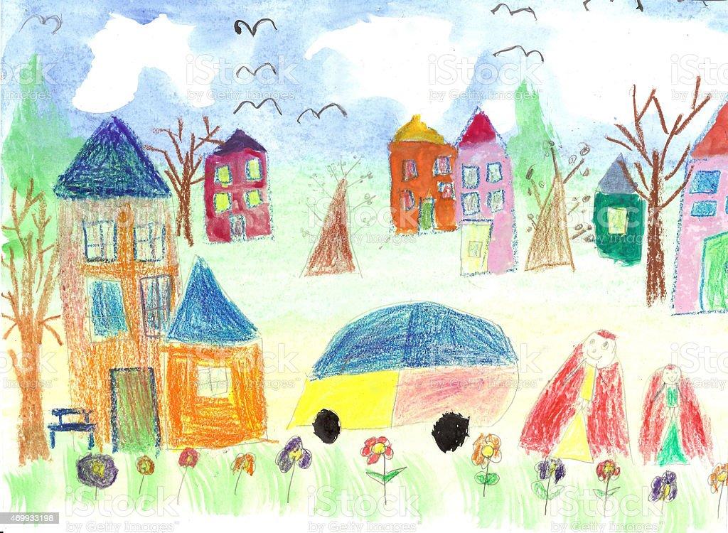 watercolor children drawing kids walking royalty free stock vector art