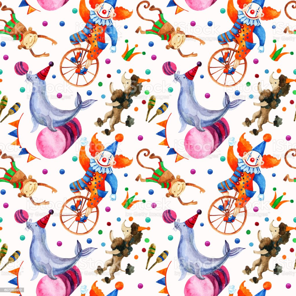 Watercolor circus seamless pattern. vector art illustration