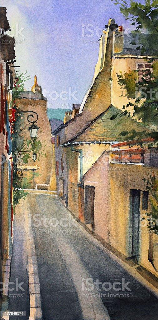 Watercolor cityscape. royalty-free stock vector art