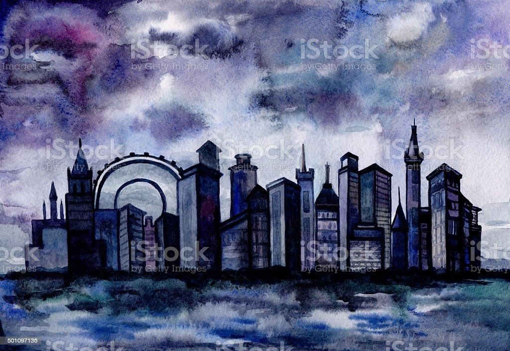 Watercolor cityscape. vector art illustration