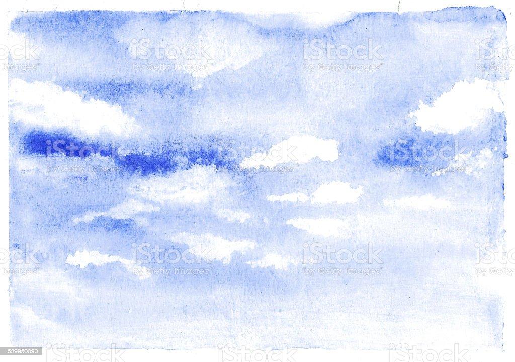 Watercolor cloud vector art illustration