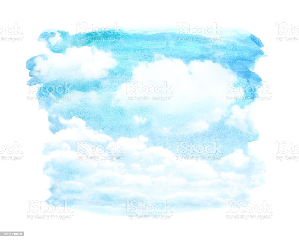watercolor cloud vector art illustration