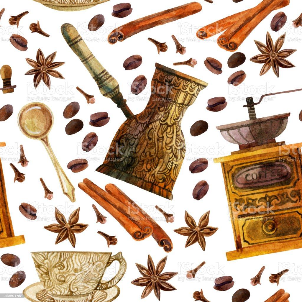 Watercolor coffee seamless pattern vector art illustration