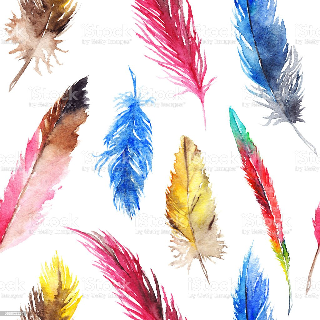 Watercolor colorful feather seamless pattern background texture vector art illustration