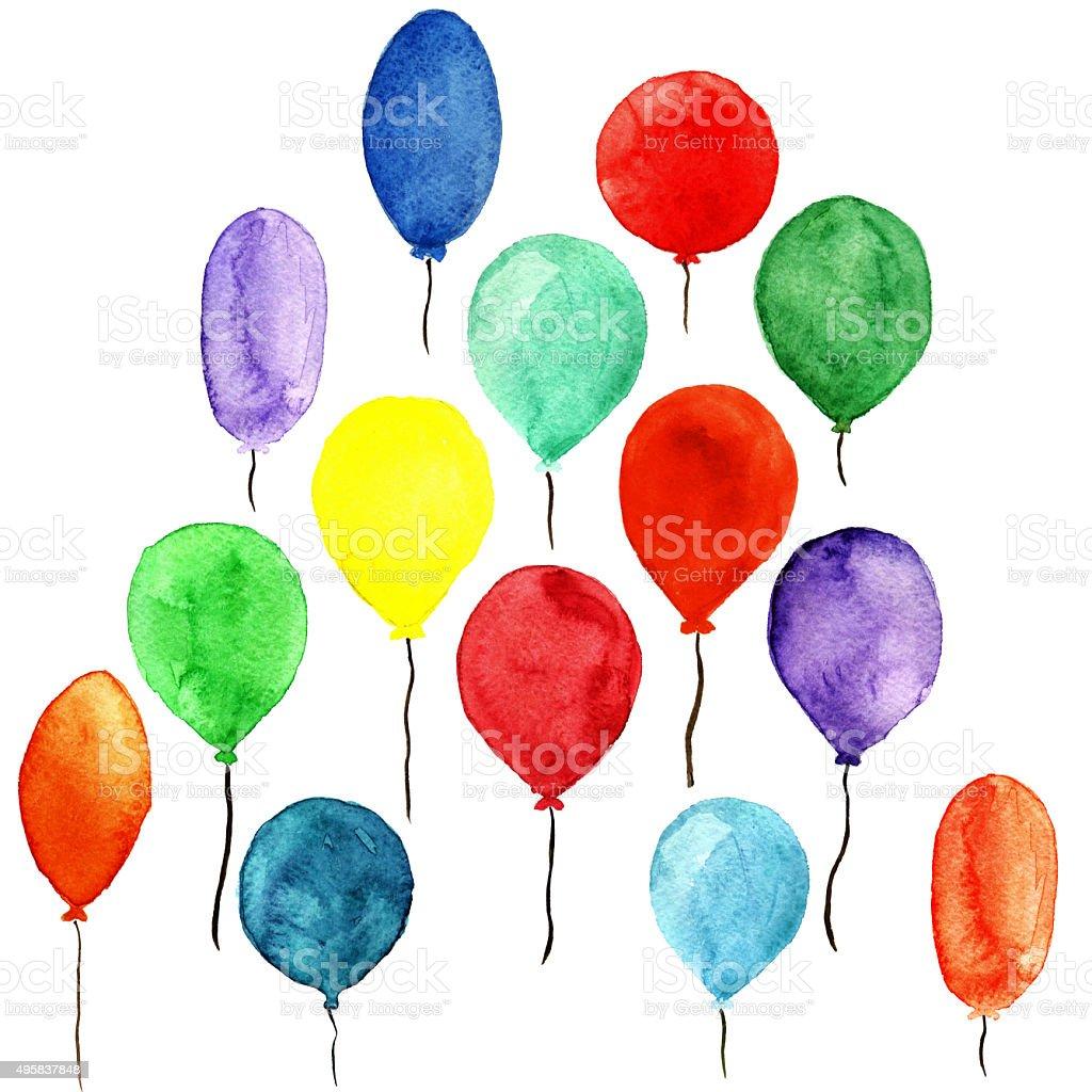 Watercolor colorful sketch balloons vector art illustration