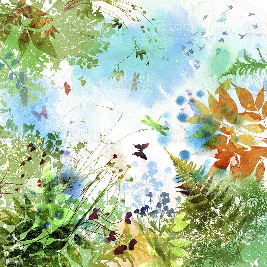 Watercolor composition summer background vector art illustration